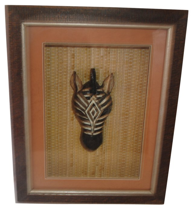 Framed Wooden Zebra Head