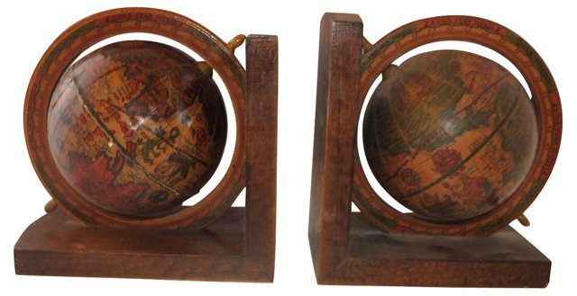 Wood Globe Bookends