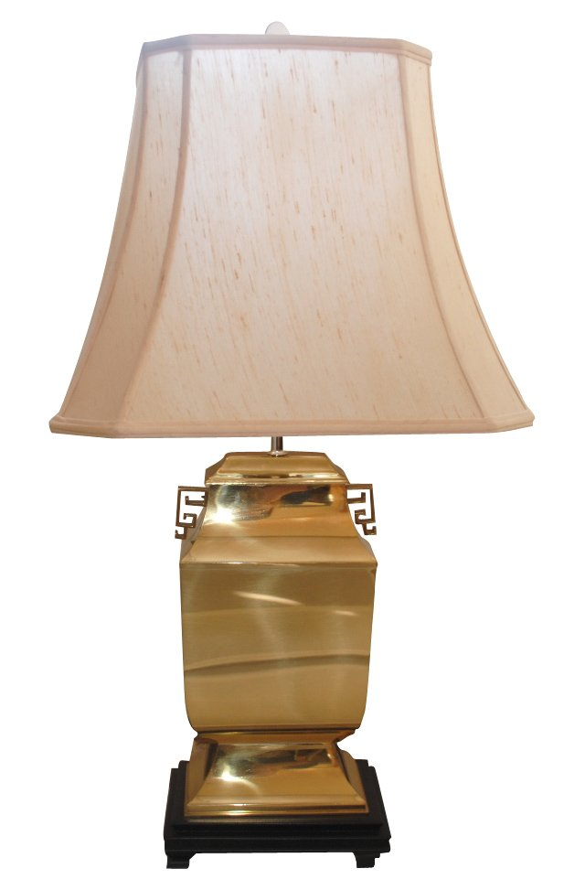 Brass Lamp w/ Greek Key Handles