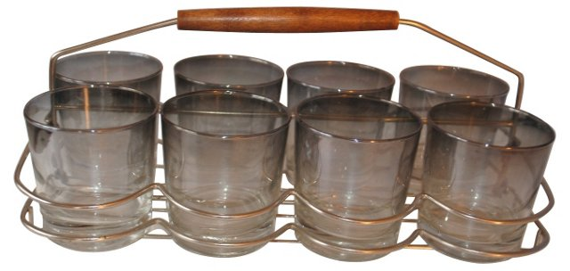 Smoked Bar Glasses w/ Carrier, S/8