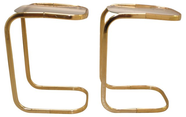 Brass  & Glass Drink Tables, Pair