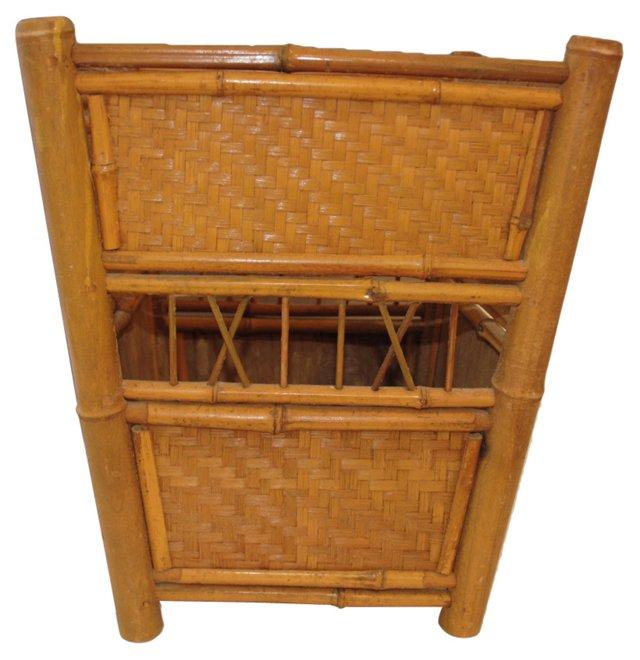 Bamboo Rattan Wastebasket