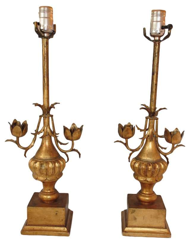 Gilt Italian Lamps, Pair