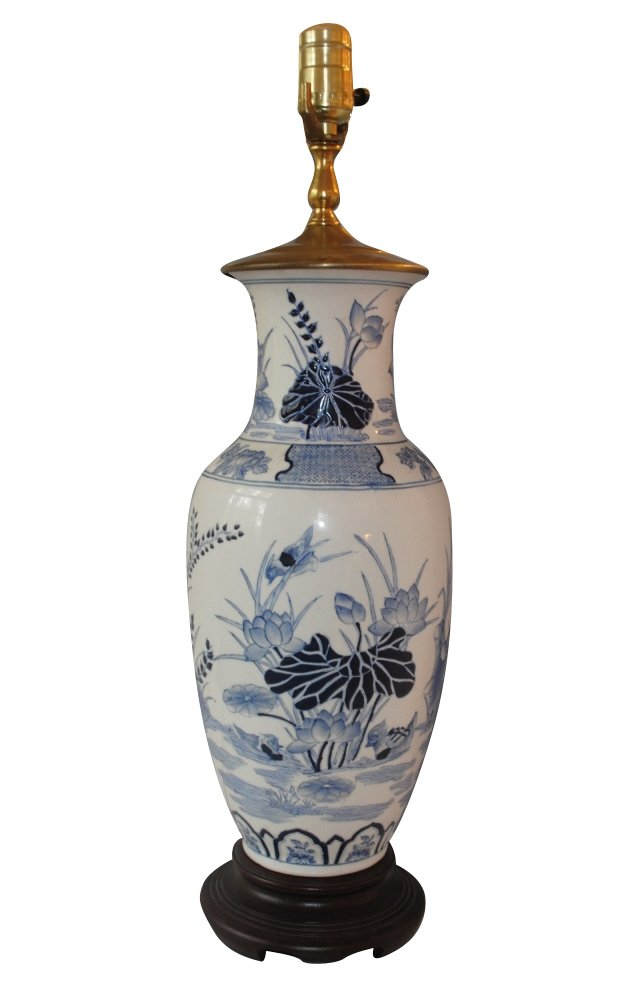 Blue & White Chinoiserie Lily Pad Lamp