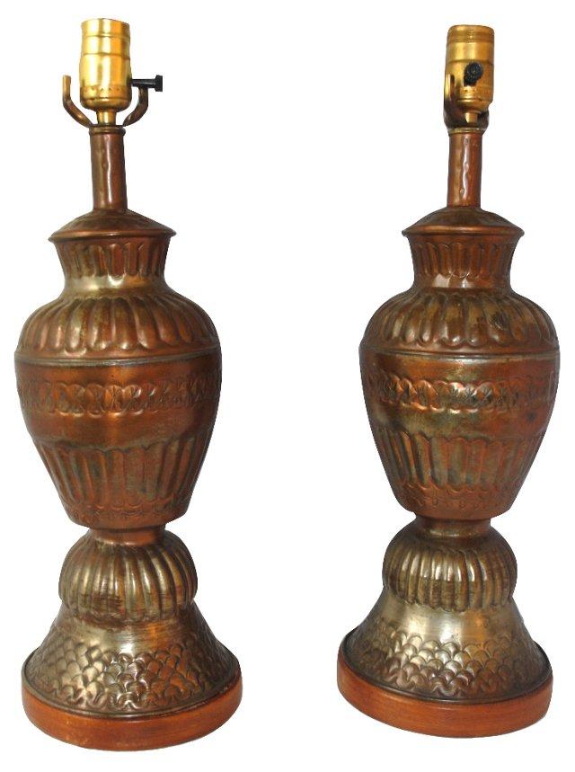 Embossed Copper Lamps, Pair