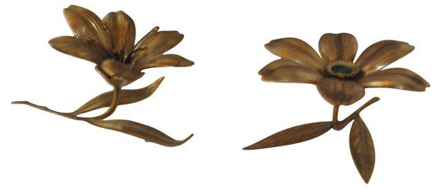 Brass Lillies w/ Detachable Petals, Pair