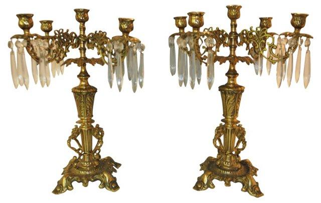 Italian Brass & Crystal Girandolas, Pair