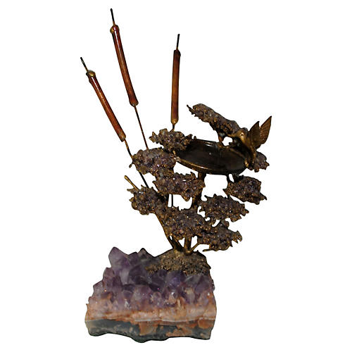 Amethyst Geode & Brass Bird Sculpture