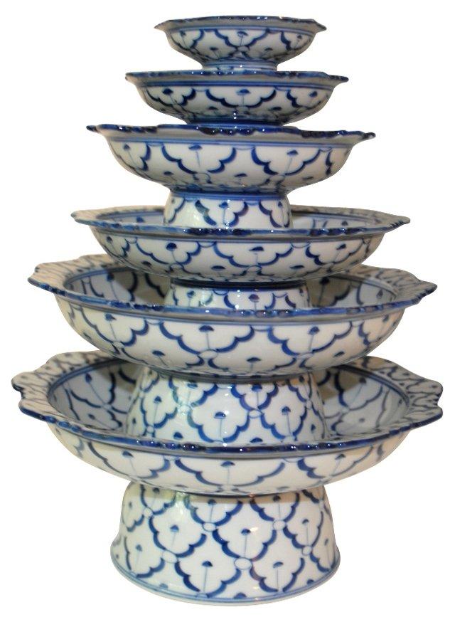 Blue & White   Tiered Centerpiece, S/5