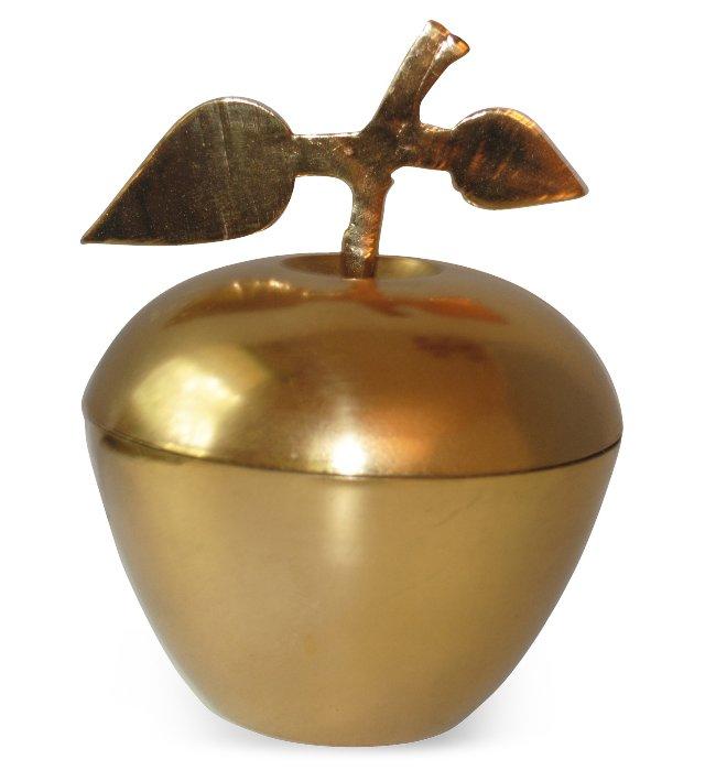Lidded Brass Apple