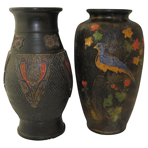 Japanese Pottery Vases, Pair