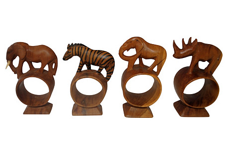 Safari Carved Wood Napkin Rings, S/4