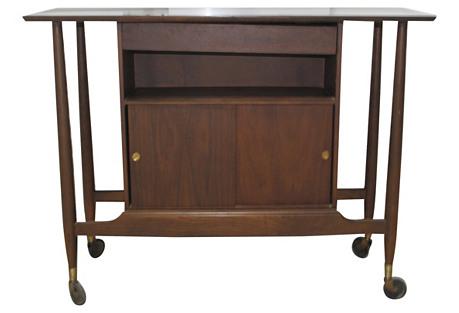Midcentury Walnut Server Bar Cart