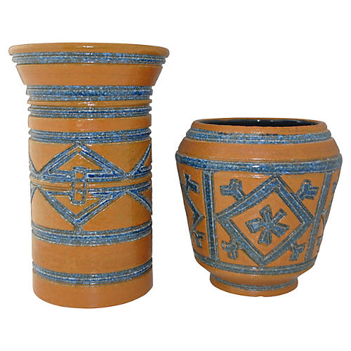 Blue & Brown Italian Pottery Vases, Pair
