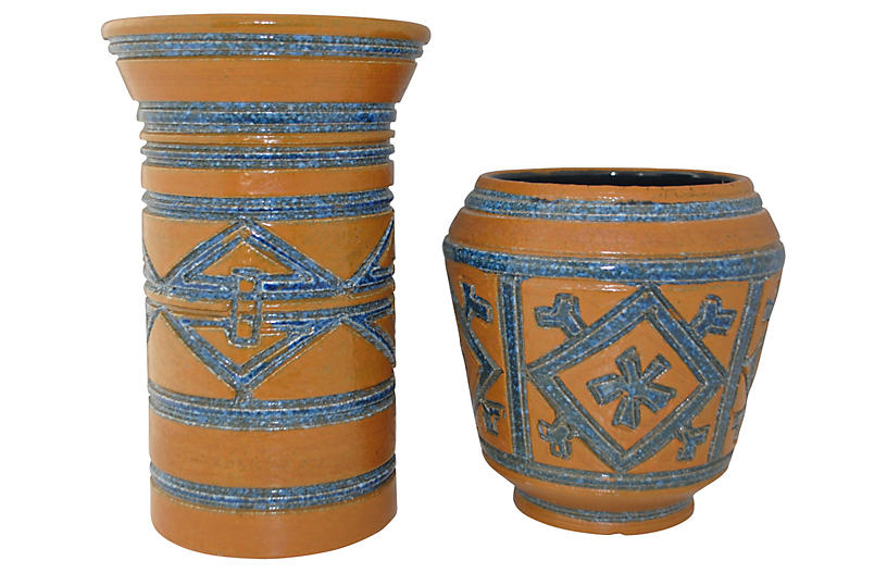 Blue Brown Italian Pottery Vases Pair Matters Of Style
