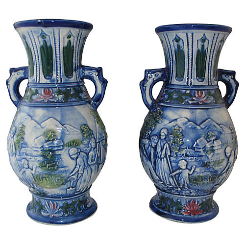 Blue & White Vases w/ Handles, Pair