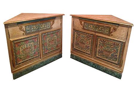 Italian Corner Cabinets, Pair