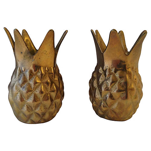 Brass Pineapple Candleholders, S/2