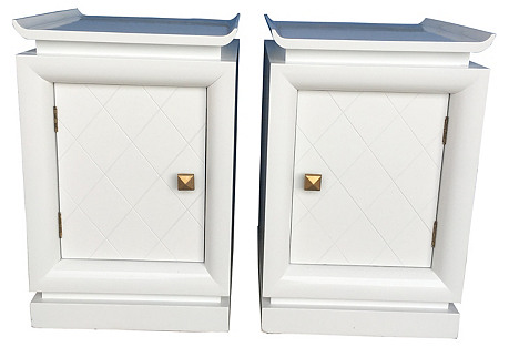 Lacquered Pagoda Nightstands, Pair