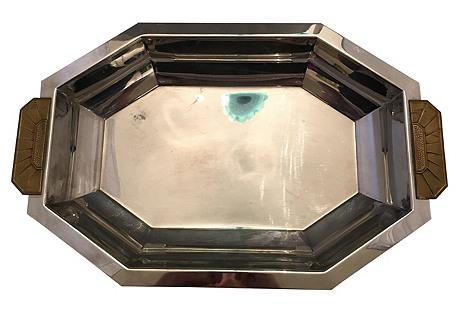 French Art Deco Silver & Brass Tray