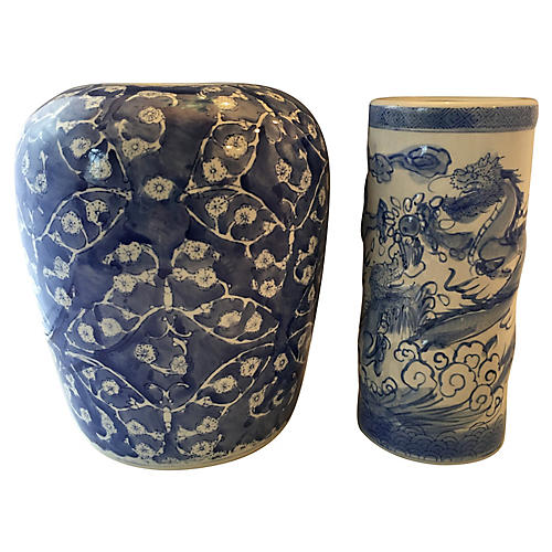 Blue & White Chinoiserie Vases, S/2
