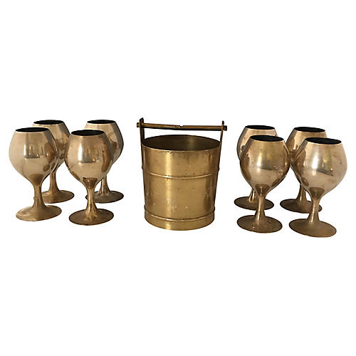 Midcentury Cocktail Set, 9 Pcs