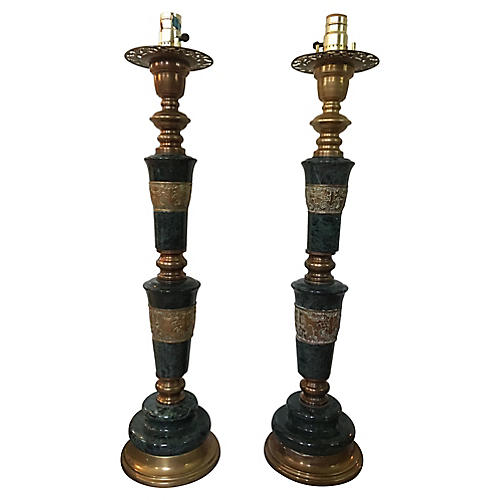 Moroccan Marble & Brass Table Lamps, S/2