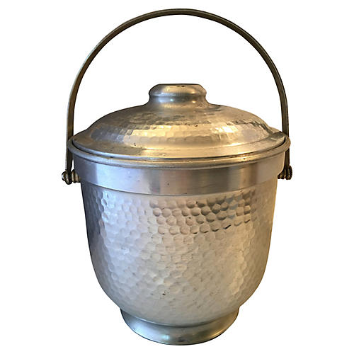 Italian Hammered Metal Ice Bucket