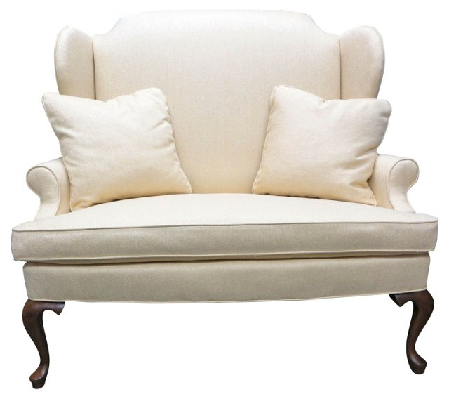 Upholstered  Settee  w/ 2 Pillows
