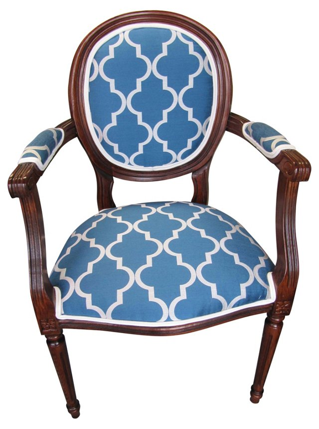 Blue & White French-Style Armchair