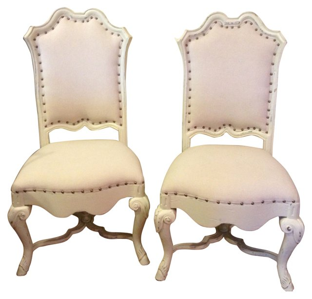 Carved Side Chairs, Pair