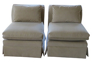 Slipper  Chairs w/  Pillows, Pair