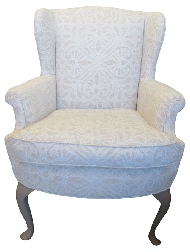 Neutral Damask Chair w/ Pillow