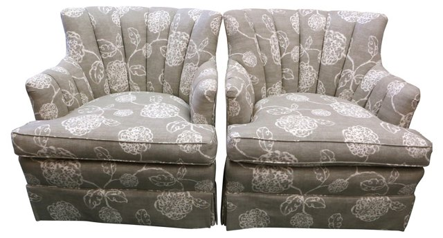 Channel-Back   Chairs, Pair
