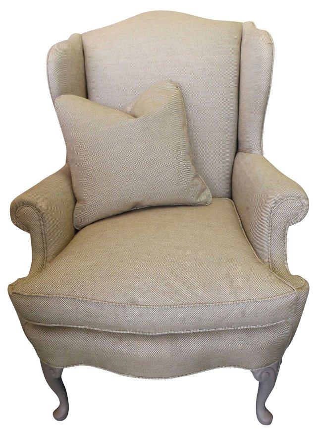 Linen Tweed Wingback w/ Pillow