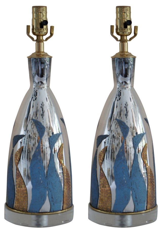 Mirrored Glass Lamps, Pair