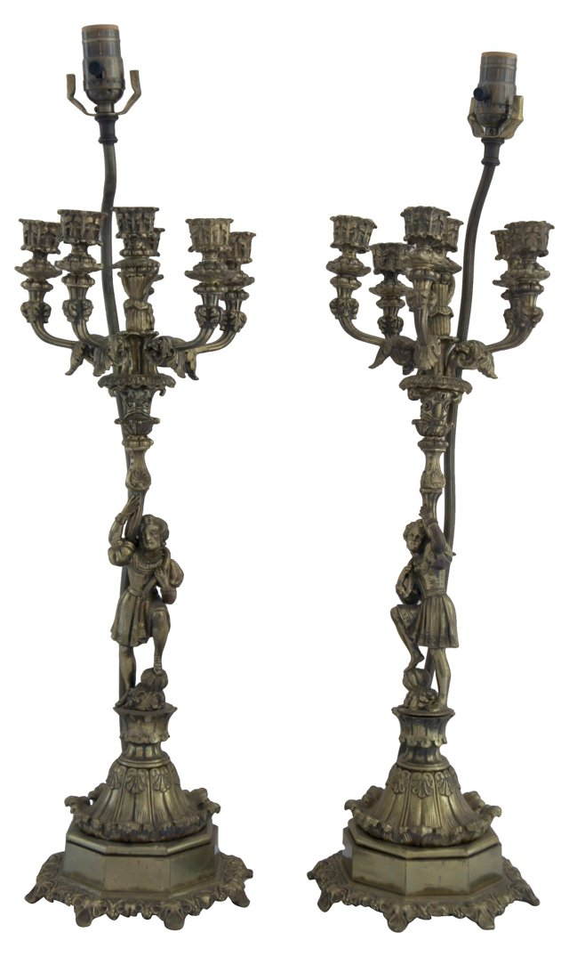 Brass Figurine Candelabra Lamps, Pair