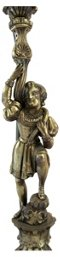Brass Figurine Candelabra Lamps, Pair