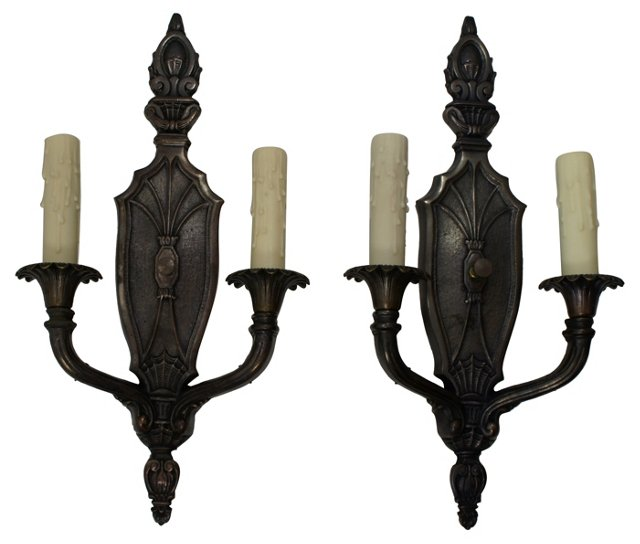 2-Arm Steel Sconces, Pair