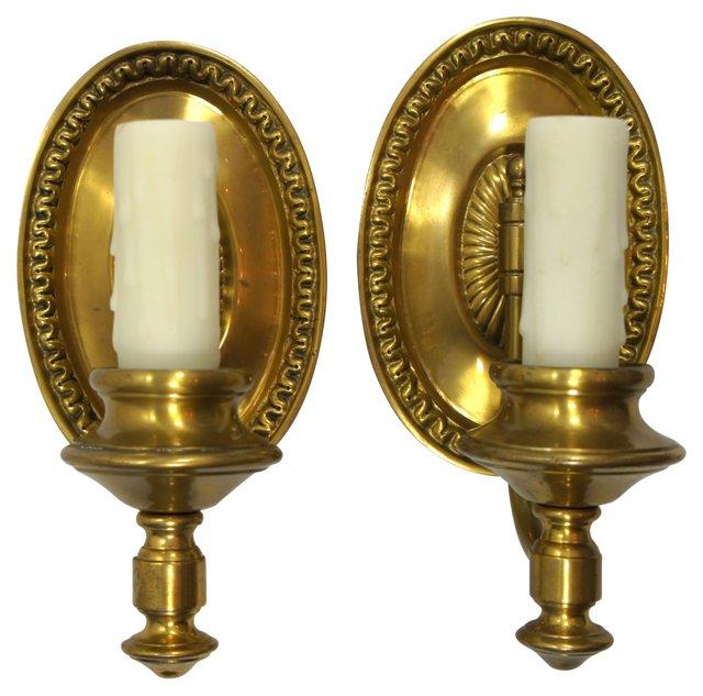 Oval Brass Sconces, Pair