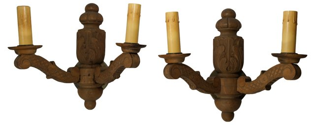 Wooden Sconces, Pair