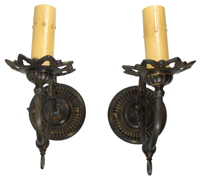 Dark Brass Sconces, Pair