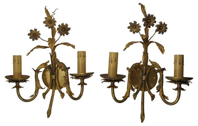 Brass Floral Sconces, Pair