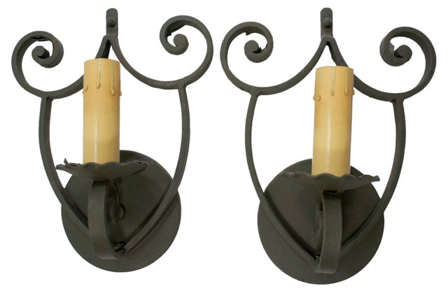 Green Iron Sconces, Pair