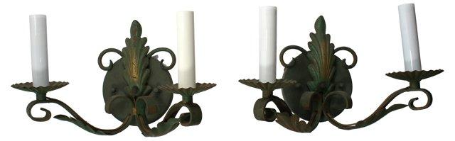 Green Brass Sconces, Pair