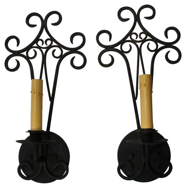 Black Brass Sconces, Pair