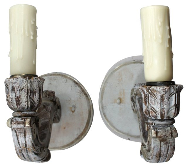 Painted Wood Sconces, Pair