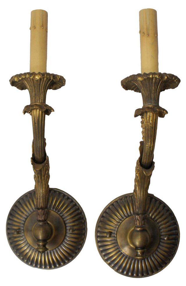 Single-Arm Brass Sconces, Pair