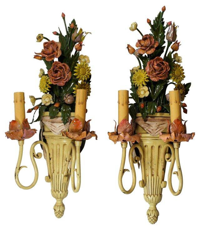 Floral Tole Sconces, Pair