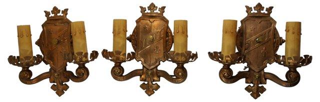 Copper Shield Sconces, Set of 3